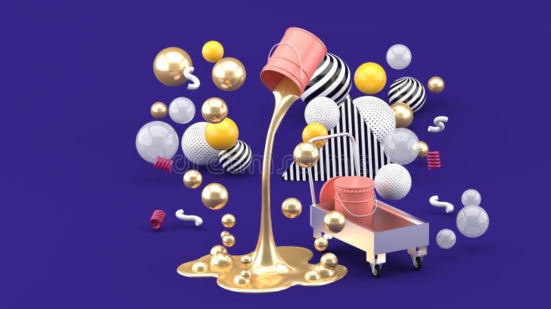 Pinturas líquidas douradas que jorram da lata cor-de-rosa entre as bolas coloridas no fundo roxo ilustração royalty free