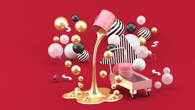 Pinturas líquidas douradas que jorram da lata cor-de-rosa entre as bolas coloridas no fundo vermelho ilustração stock
