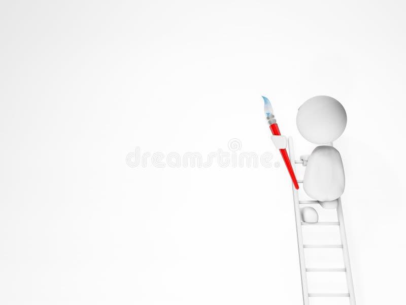 Pinturas lindas de un individuo 3d en una pared blanca stock de ilustración