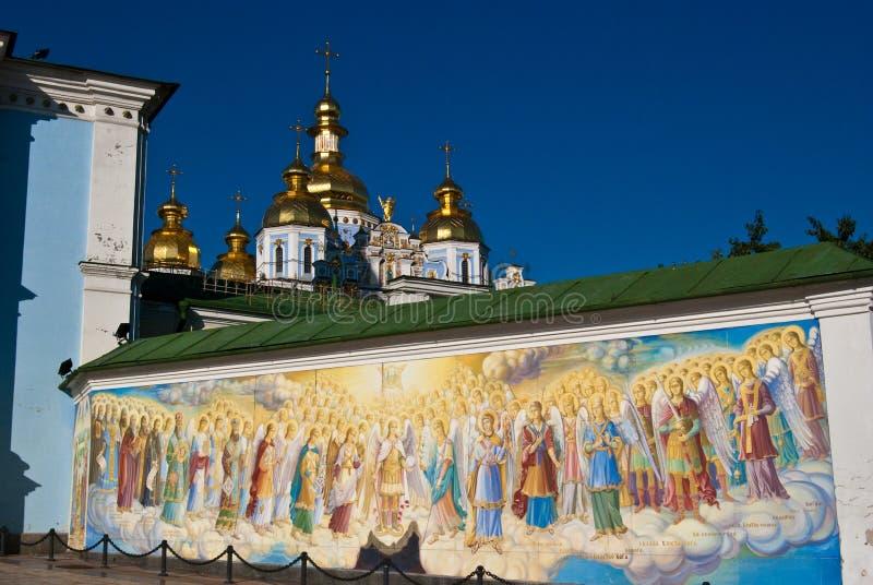 Pinturas murais e igreja ortodoxa religiosas em Kyiv fotografia de stock