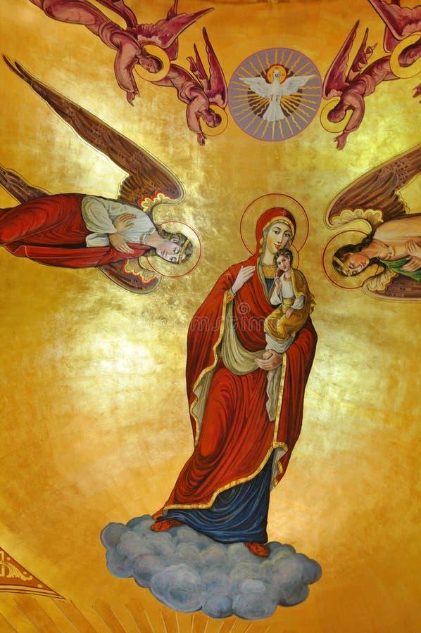 Pinturas murais em uma igreja ortodoxa ilustração do vetor