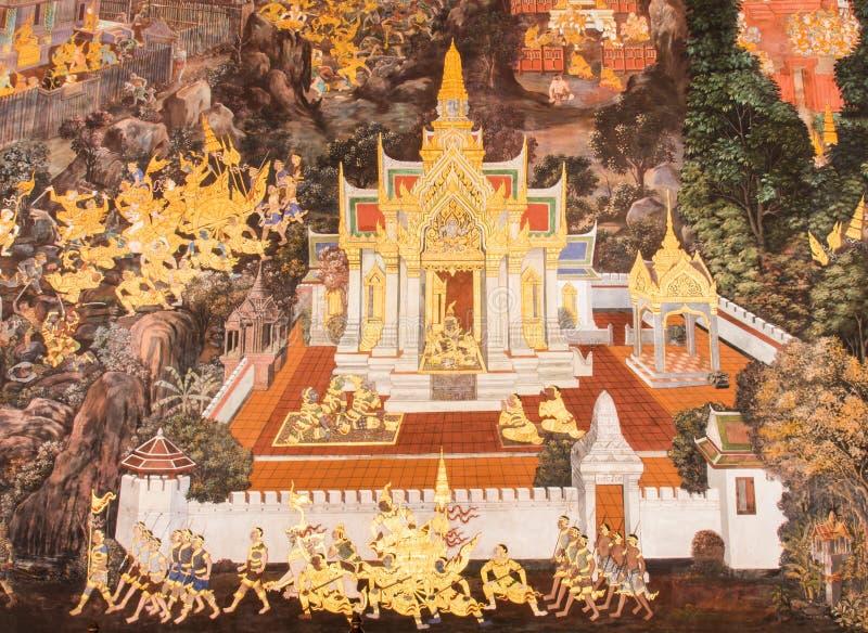 Pinturas murais em Wat Phra Kaew fotografia de stock royalty free