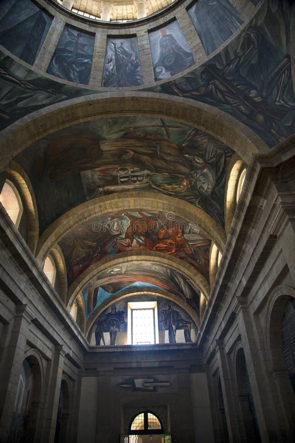 Pinturas murais México de Orozco do instituto das cabanas foto de stock royalty free