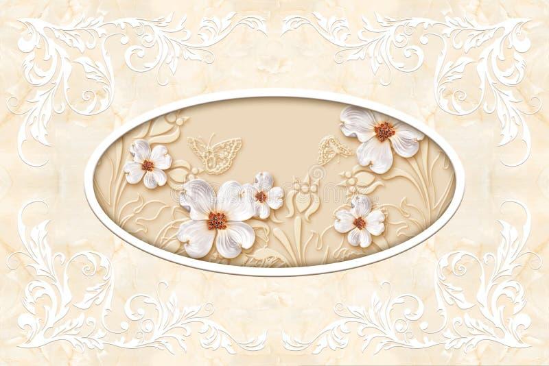 pinturas murais papel de parede do teto 3d, molde do estuque no fundo de mármore ilustração do vetor