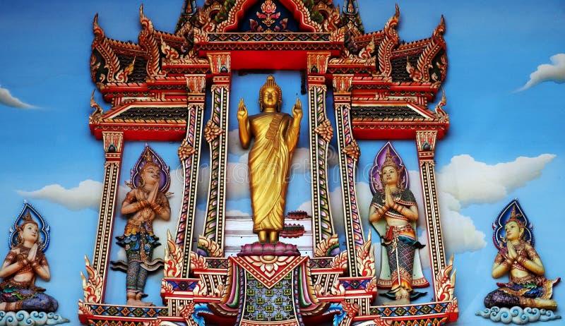 Pinturas murais que caracterizam a vida do ` s da Buda imagem de stock