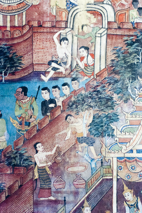 Pinturas murais tailandesas foto de stock
