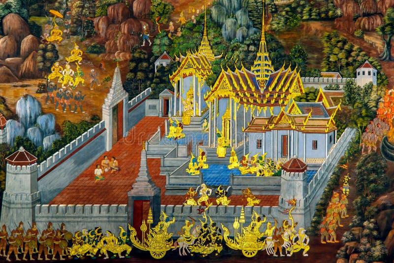 Pinturas murais tailandesas em Wat Phra Kaew em Banguecoque, Tailândia fotografia de stock
