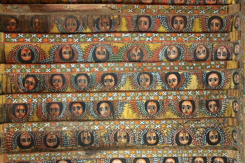Pinturas originais do teto na igreja de Debre Birhan Selassie, Gondar, Etiópia imagem de stock