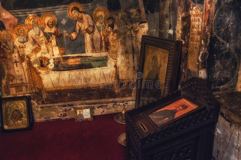 Pinturas y frescos dentro de la iglesia del St Naum en el lago Ohrid, macis imágenes de archivo libres de regalías