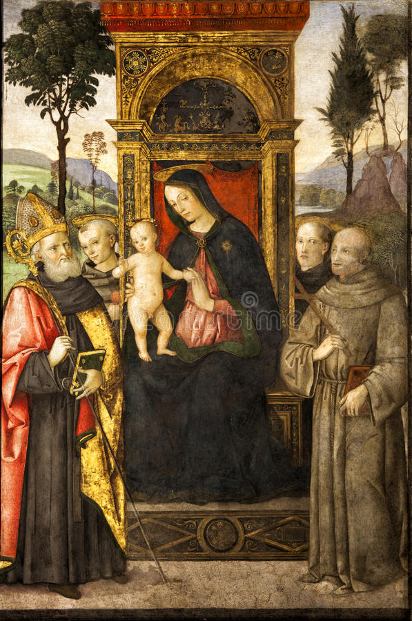 Pinturicchio Madonna и ребенок Enthroned с Святыми Santa Maria del Popolo Италия rome иллюстрация вектора