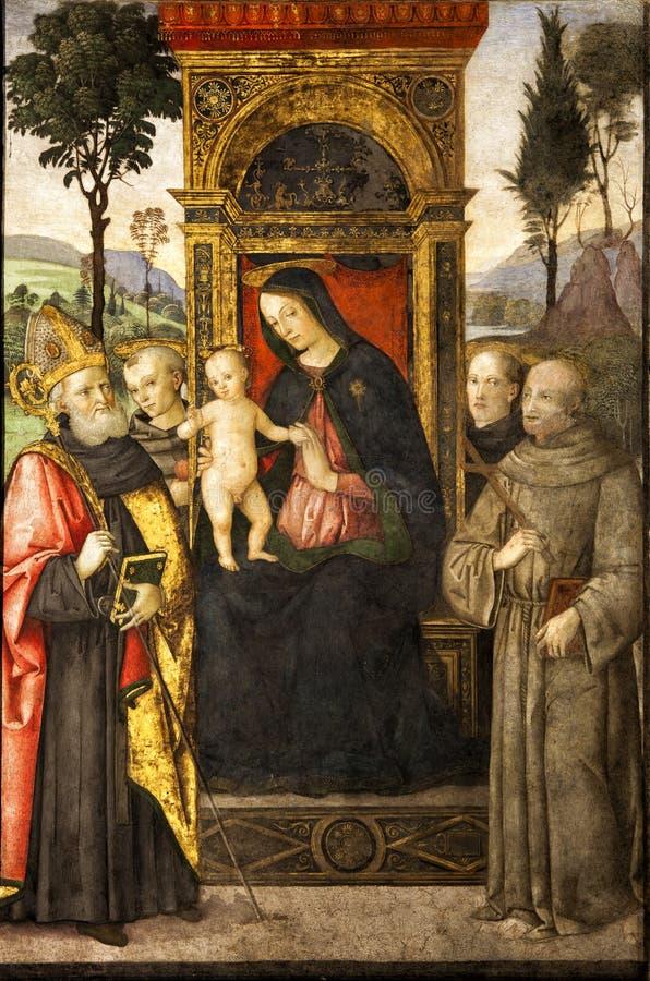 Pinturicchio Madonna e bambino messi sul trono con i san Santa Maria del Popolo Belle vecchie finestre a Roma (Italia) illustrazione vettoriale