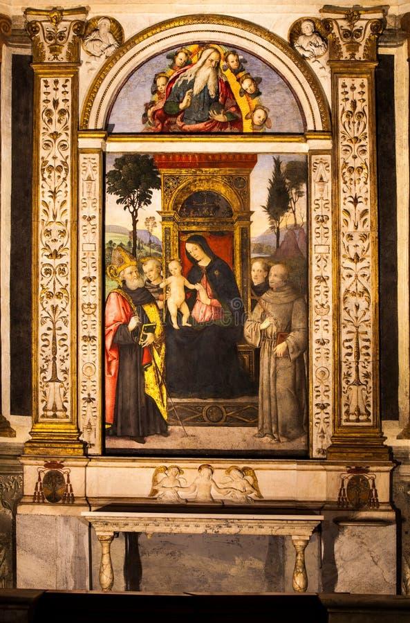 Pinturicchio Madonna y niño entronizados con los santos Santa Maria del Popolo Ventanas viejas hermosas en Roma (Italia) imagen de archivo