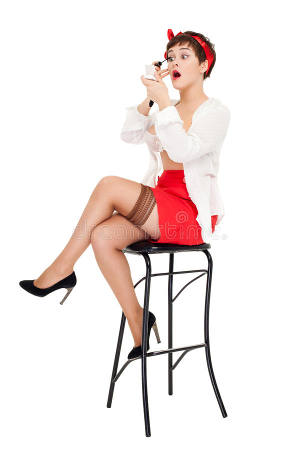 pinup样式妇女 免版税库存照片