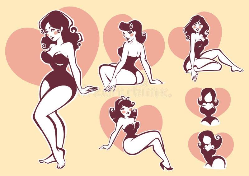 Pinup beauty stock illustration