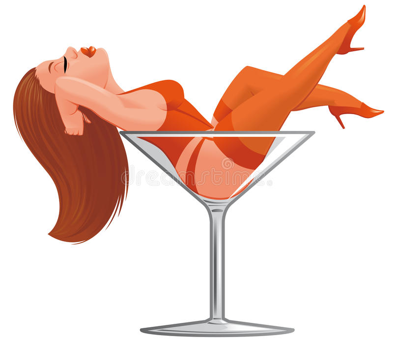 Pinup de dessin anim dans le verre vin illustration - Verre de vin dessin ...