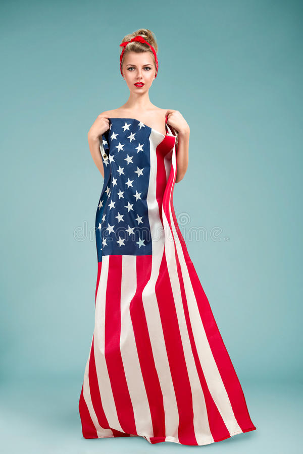 Pinup Girl With American Flag Stock Image - Image of beauty, person: 44047155