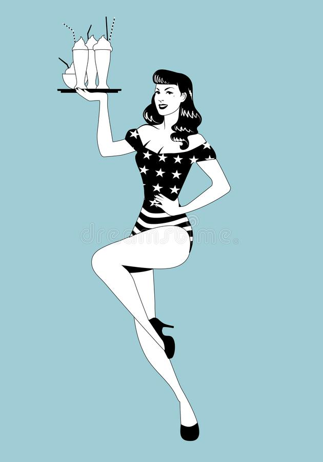 Pinup girl carrying a tray with smoothies, ice cream or frozen yogurt. Wearing symbolic clothing of the American flag stock illustration