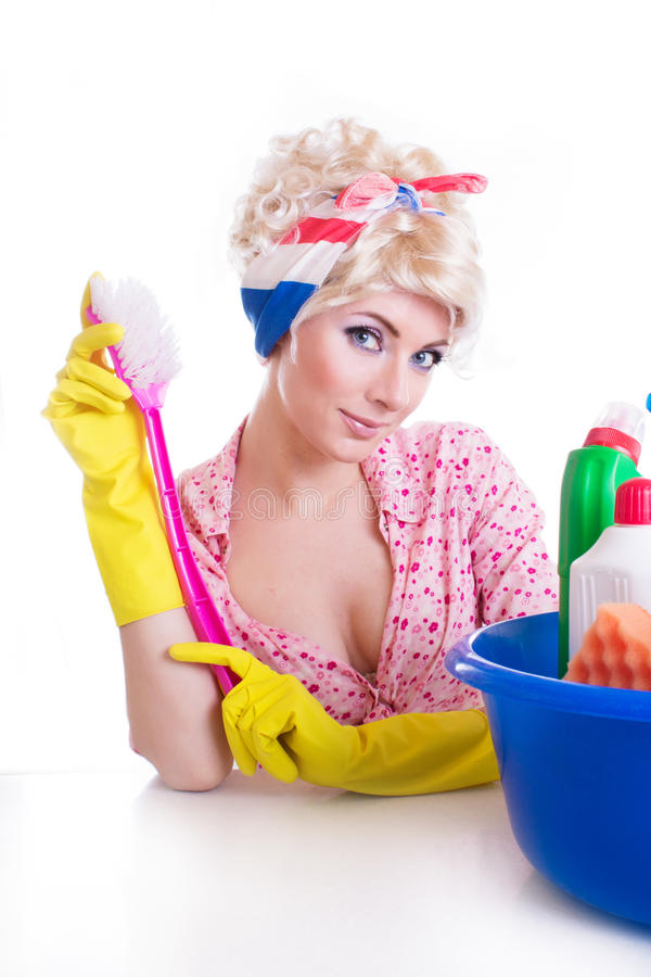 Pinup Girl With Cleaning Set Stock Photo