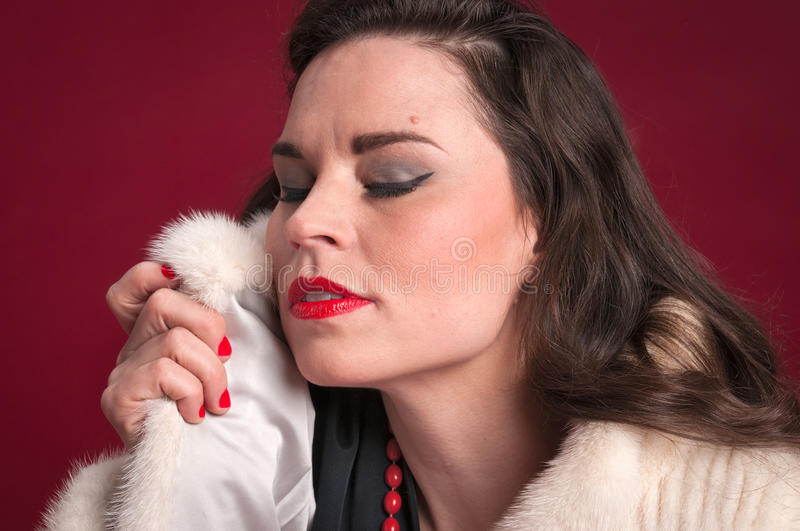 Download Pinup Girl In Fur Coat Stock Photography - Image: 35308372