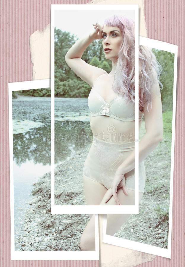 Free Pinup Girl With A Pink Hair Royalty Free Stock Images - 42421749
