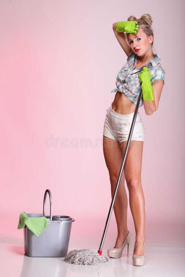 Download Pinup Girl Woman Housewife Cleaner Portrait Stock Photography - Image: 27377142