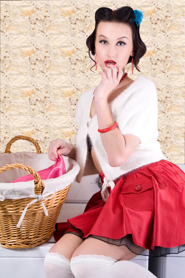 Pinup housewife royalty free stock photo