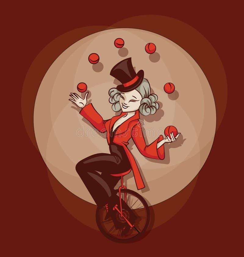 Pinup kreskówki ślicznego aquilibrist kuglarskie piłki ilustracji