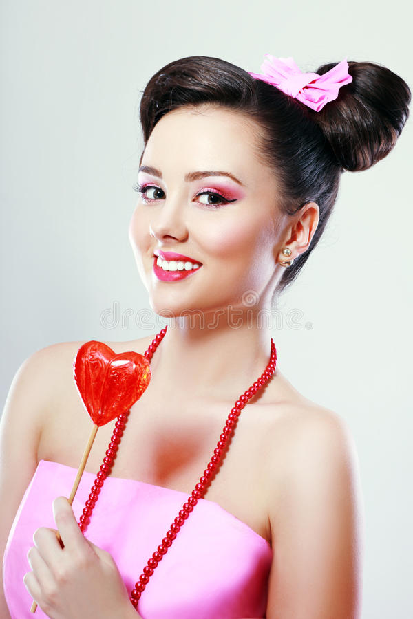 Pinup Pop-Art Candy Girl stock image