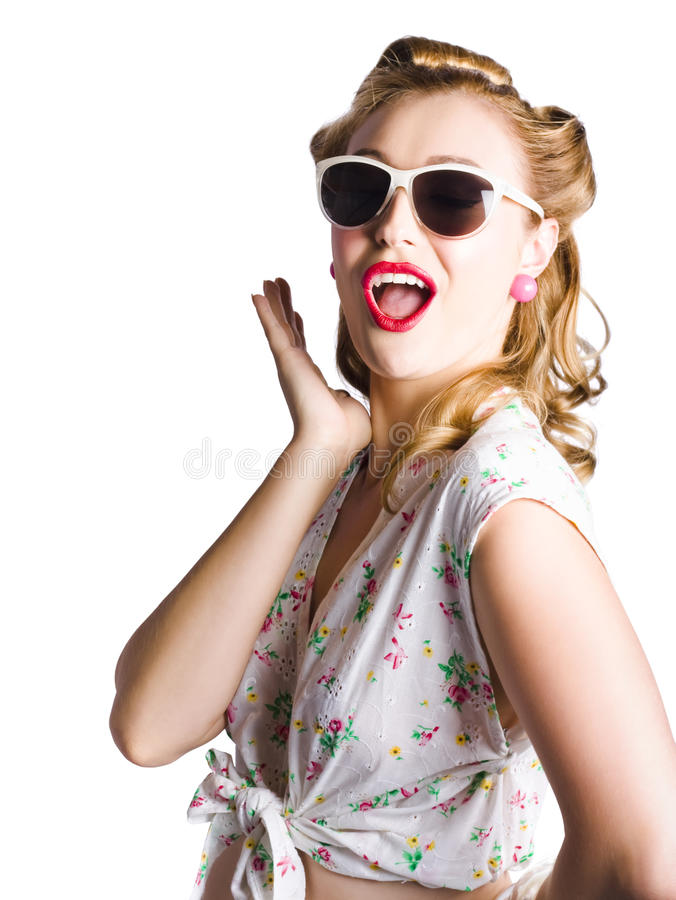 Download Pinup shouting out loud stock photo. Image of green, pattern - 29434206