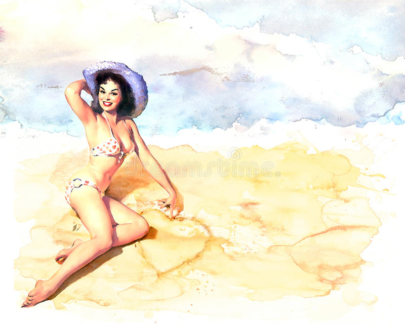 Pinup style girl watercolour stock image