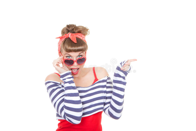 Pinup woman pointing stock photography