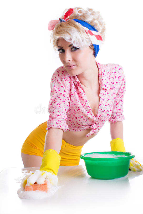 Pinup woman with sponge and foam stock photos