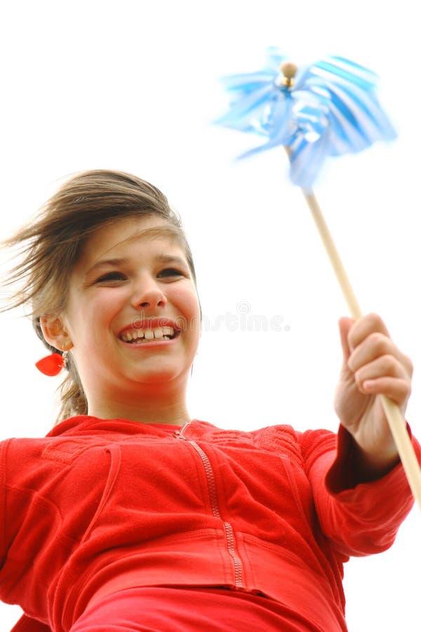 pinwheel девушки стоковое изображение rf