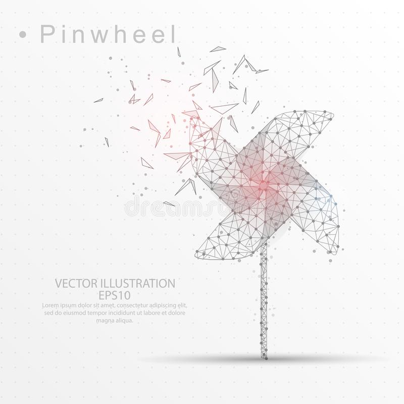 Pinwheel digitally drawn low poly triangle wire frame. Pinwheel line and composition digitally drawn of triangle shape and scattered dots low poly wire frame on vector illustration