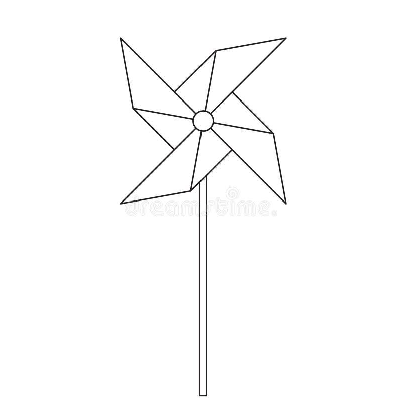 pinwheel Het stuk speelgoed die van kinderen in de wind roteren Spinner in de stijl van de lijn stock illustratie