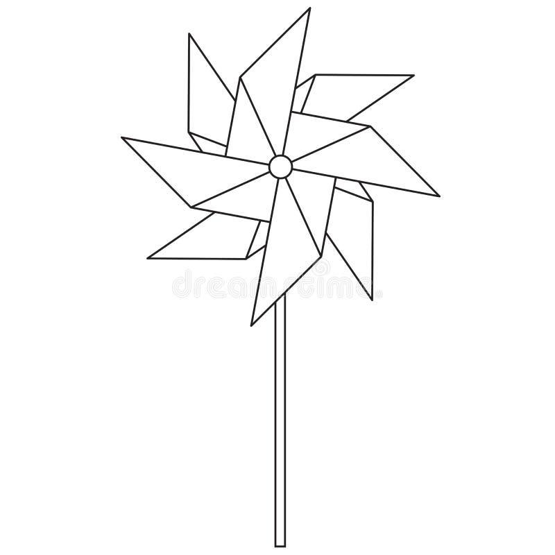 pinwheel Kinderen` s stuk speelgoed die in de wind roteren Spinner in de stijl van de lijn royalty-vrije illustratie