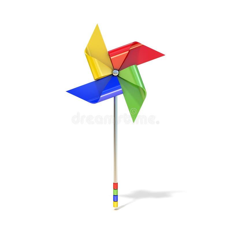 Pinwheel zabawka, cztery popierający kogoś, inaczej barwioni vanes ilustracji