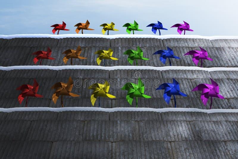 Pinwheels στα σκαλοπάτια στοκ εικόνες