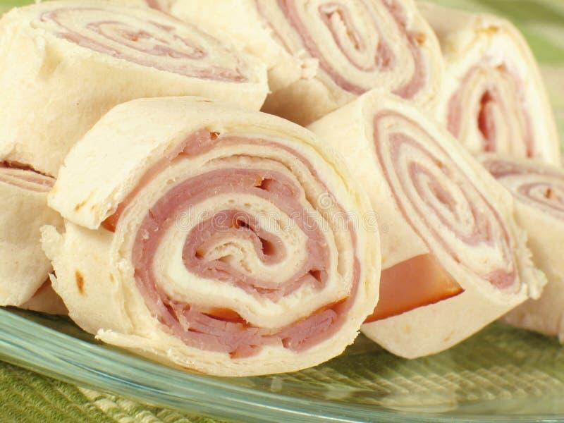 Pinwheels de jambon images stock