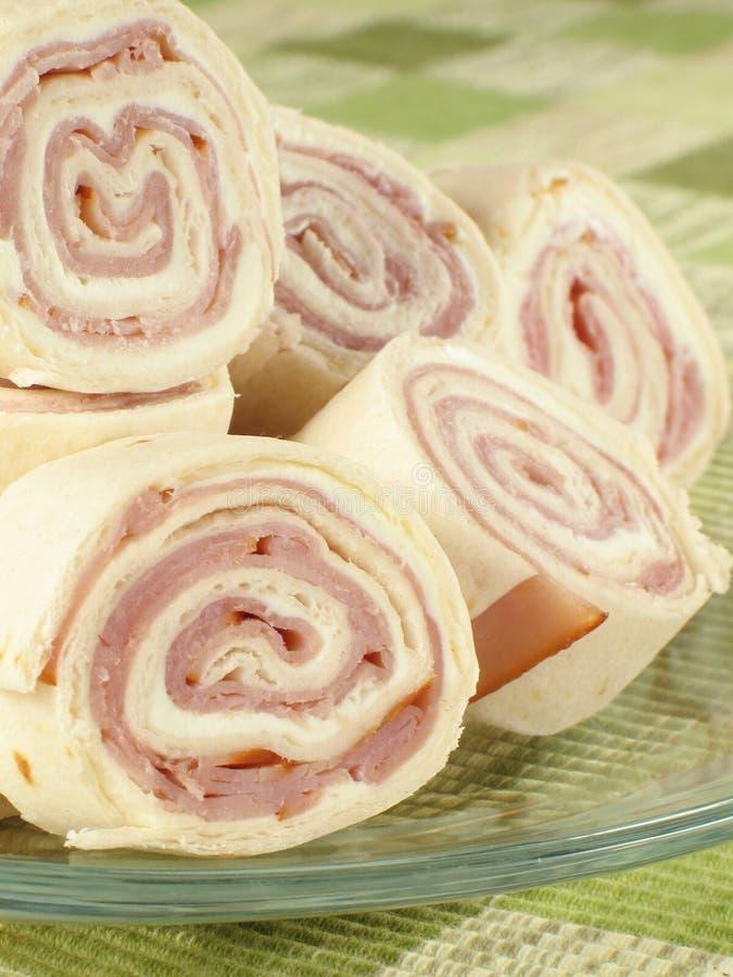 Pinwheels de jambon et de fromage photos stock