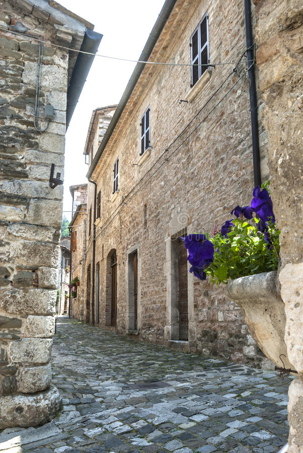 Download Piobbico (Marches) stock image. Image of slope, town - 28668841