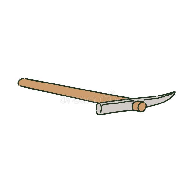 Pioche menteuse en métal sur le style en bois de croquis de poignée illustration de vecteur