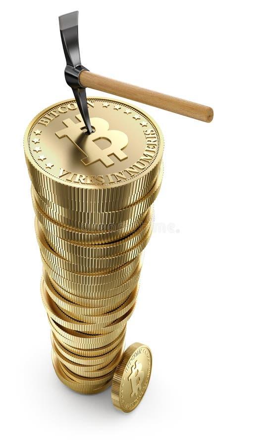 Pioche sur la pile de bitcoin illustration libre de droits