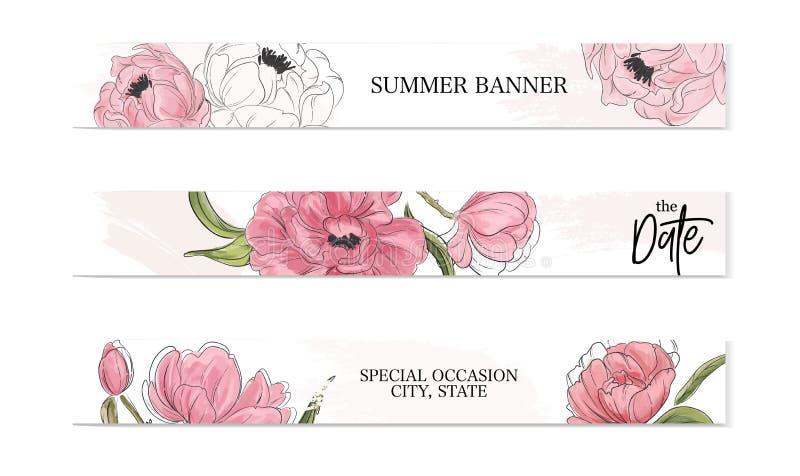 Pioen advertisig creatieve botanische banner Moderne de zomer bloemendecoratie Bloemen romantisch presentatiedecor Het Ontwerp va vector illustratie