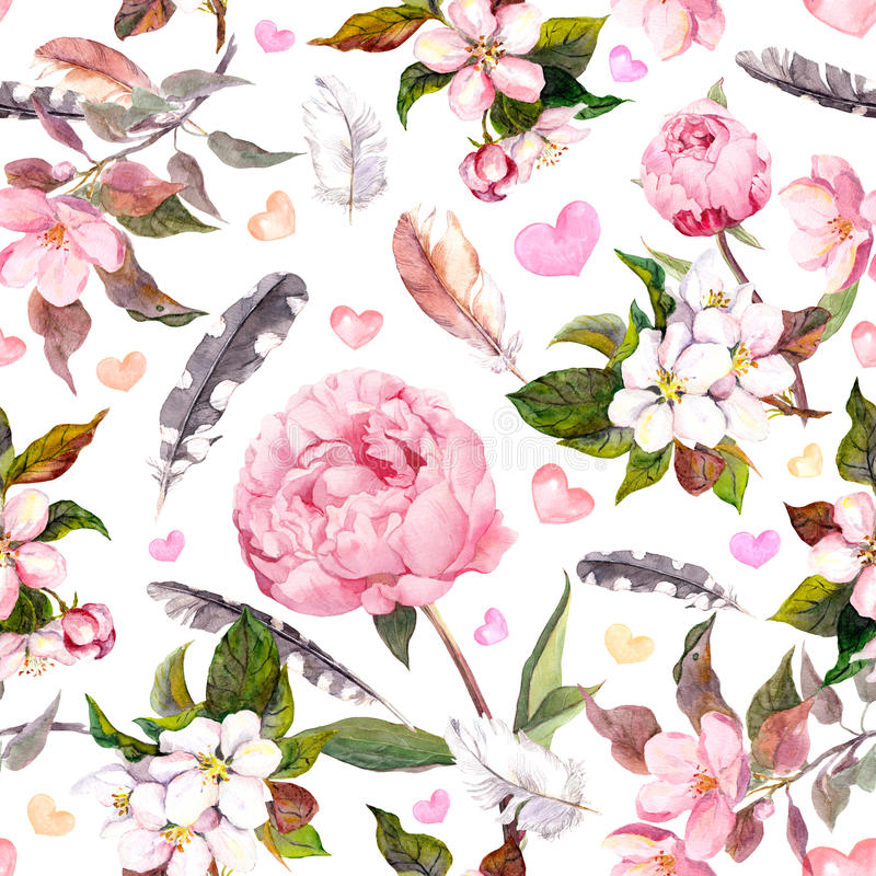 Pioenbloemen, sakura, veren Uitstekend naadloos bloemenpatroon watercolor vector illustratie