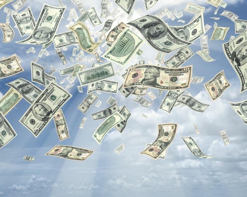 Pioggia dei dollari fotografie stock