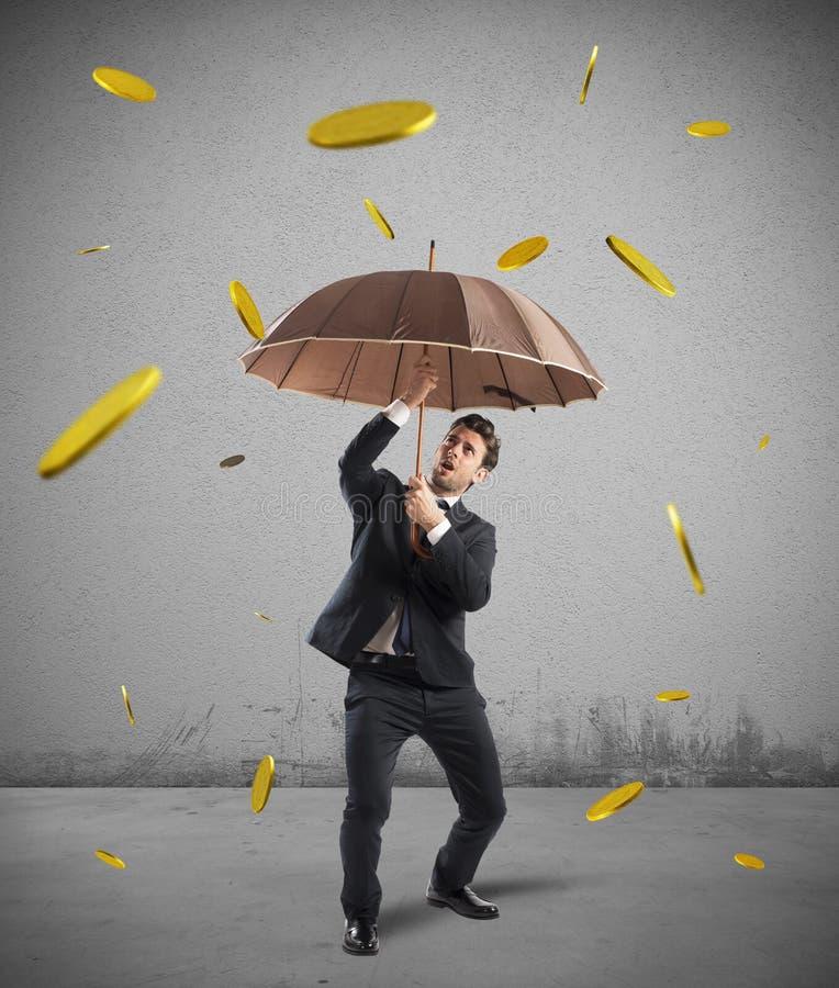 Pioggia dei soldi di vittoria fotografia stock