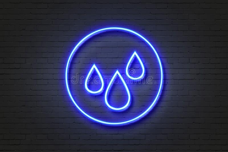 Pioggia dell'icona della luce al neon illustrazione vettoriale
