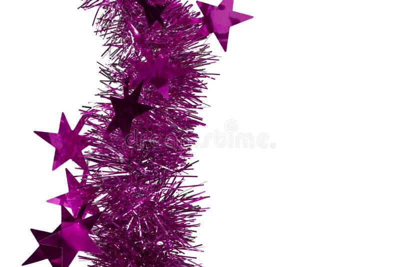 Pioggia della decorazione di Natale su fondo isolato bianco fotografie stock