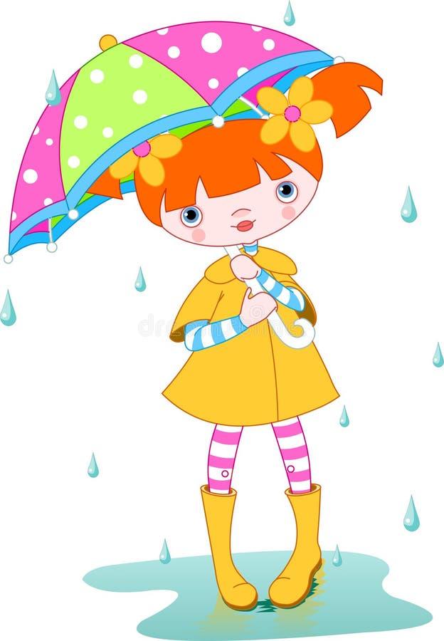Pioggia della ragazza royalty illustrazione gratis